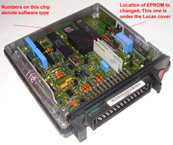 shows socketed & covered eprom plus identity chip location